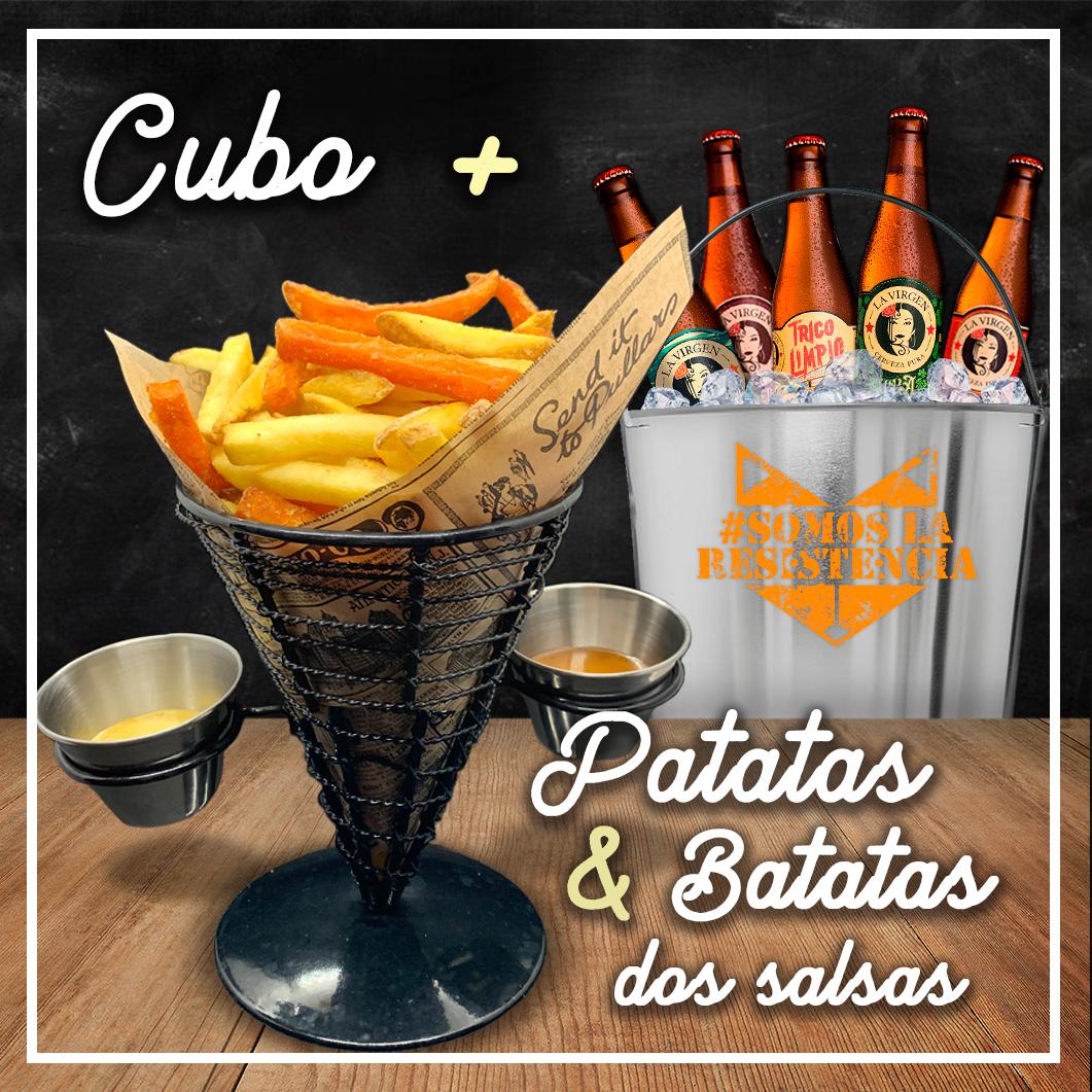 promoción spoiler bar cubo de cervezas + patatas